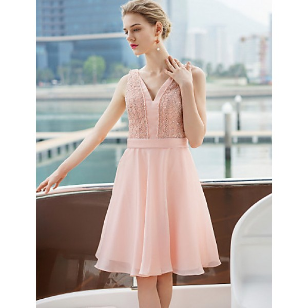 Cocktail Party Dress - Blushing Pink A-line V-neck Short/Mini Satin Special Occasion Dresses