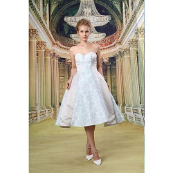 Cocktail Party Dress Pool Ivory A Line Sweetheart Knee Length Satin