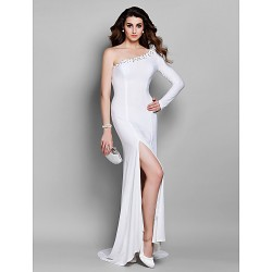 Formal Evening Dress - White Plus Sizes / Petite Trumpet/Mermaid One Shoulder Court Train Jersey