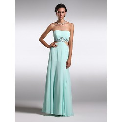 Formal Evening Dress - Sky Blue Plus Sizes / Petite Sheath/Column Jewel Floor-length Chiffon