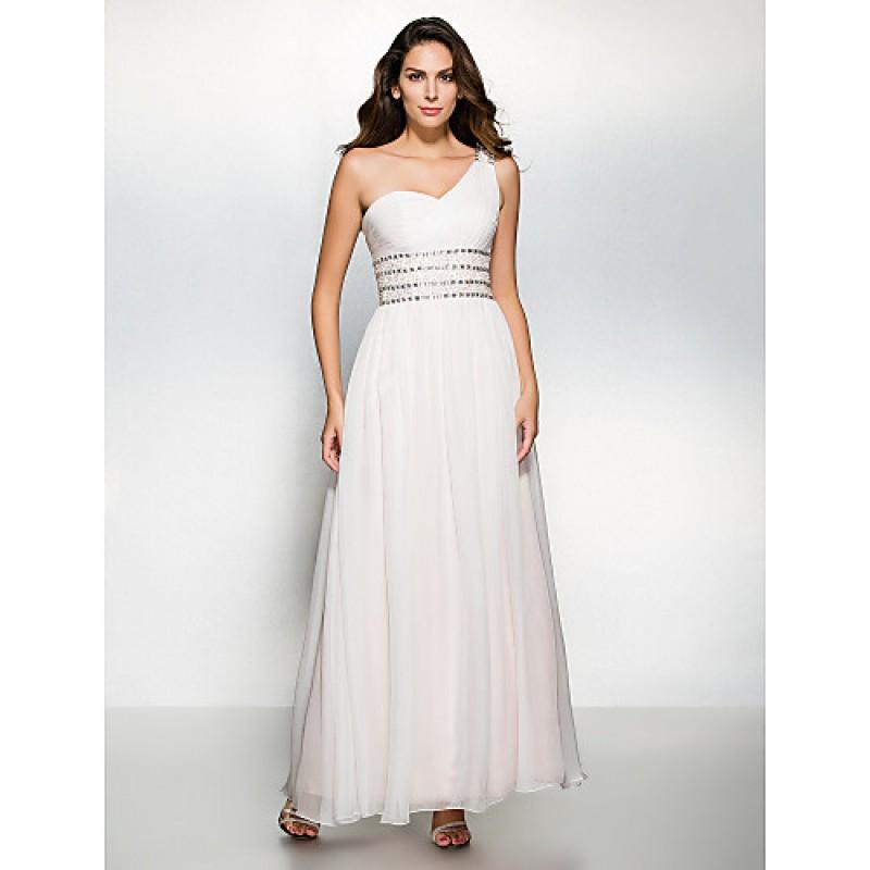 Dress Ivory A Line One Shoulder Ankle Length Chiffon Cheap Uk