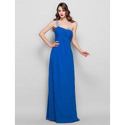Formal Evening Prom Military Ball Dress Royal Blue Plus Sizes Petite Sheath Column One Shoulder Floor Length Chiffon