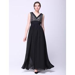Formal Evening Dress Black A Line V Neck Ankle Length Chiffon