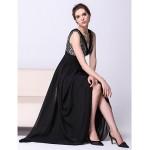 Formal Evening Dress - Black A-line V-neck Ankle-length Chiffon Special Occasion Dresses