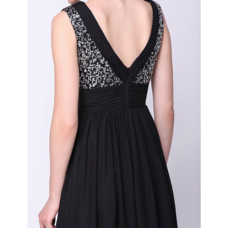 Formal Evening Dress - Black A-line V-neck Ankle-length