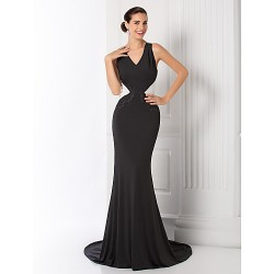 Formal Evening Prom Military Ball Dress Black Plus Sizes Petite Trumpet Mermaid V Neck Court Train Jersey