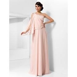 Formal Evening Prom Military Ball Dress Pearl Pink Plus Sizes Petite A Line Princess One Shoulder Floor Length Chiffon