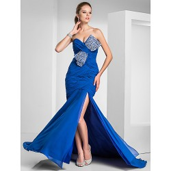 Formal Evening Prom Military Ball Dress Royal Blue Plus Sizes Petite Trumpet Mermaid Sweetheart Strapless Sweep Brush Train