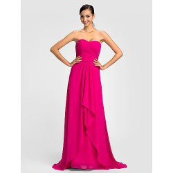 Dress Fuchsia Sheath Column Sweetheart Sweep Brush Train Chiffon