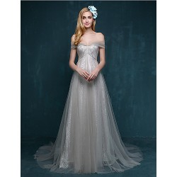 Formal Evening Dress Silver A Line Sweetheart Court Train Lace Tulle