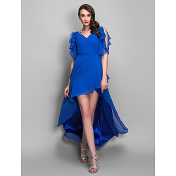 Cocktail Party Holiday Dress Royal Blue Plus Sizes Petite Sheath Column V Neck Asymmetrical Chiffon