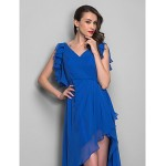 TS Couture Cocktail Party / Holiday Dress - Royal Blue Plus Sizes / Petite Sheath/Column V-neck Asymmetrical Chiffon Special Occasion Dresses