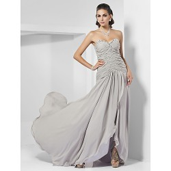 Formal Evening Dress Silver Plus Sizes Petite Sheath Column Sweetheart Strapless Sweep Brush Train Chiffon