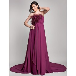Formal Evening Dress - Grape Maternity A-line Strapless Court Train Chiffon