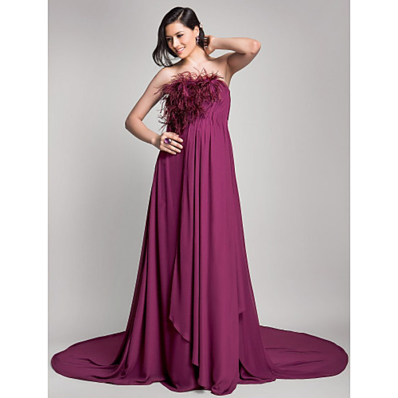 1980362285 Formal Evening Dress - Grape Maternity A-line Strapless Court Train Chiffon  Special Occasion Dresses
