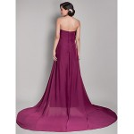 Formal Evening Dress - Grape Maternity A-line Strapless Court Train Chiffon Special Occasion Dresses