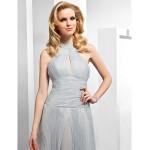 Formal Evening Dress - Silver Plus Sizes / Petite A-line / Princess High Neck Floor-length Organza Special Occasion Dresses