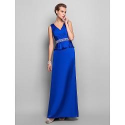Formal Evening / Military Ball Dress - Royal Blue Plus Sizes / Petite Sheath/Column V-neck Floor-length Satin Chiffon