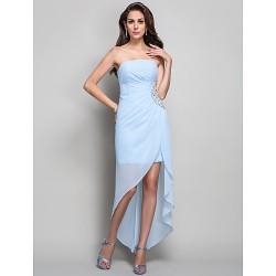 Formal Evening Military Ball Dress Sky Blue Plus Sizes Petite Sheath Column Strapless Asymmetrical Chiffon