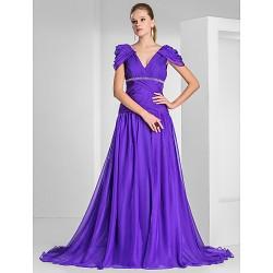 Formal Evening / Military Ball Dress - Regency Plus Sizes / Petite A-line / Princess V-neck Sweep/Brush Train Chiffon