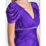 TS Couture Formal Evening / Military Ball Dress - Regency Plus Sizes / Petite A-line / Princess V-neck Sweep/Brush Train Chiffon Special Occasion Dresses
