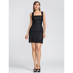 Homecoming Cocktail Party Wedding Party Dress Black Plus Sizes Petite Sheath Column Straps Scalloped Short Mini Lace