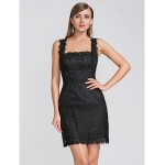 Homecoming / Cocktail Party / Wedding Party Dress - Black Plus Sizes / Petite Sheath/Column Straps / Scalloped Short/Mini Lace Special Occasion Dresses