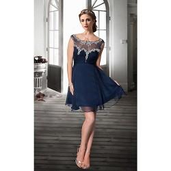Cocktail Party Dress Dark Navy Plus Sizes Petite A Line Jewel Knee Length Organza