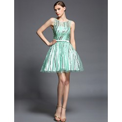 Cocktail Party Dress - Sage Ball Gown Jewel Short/Mini Charmeuse / Sequined