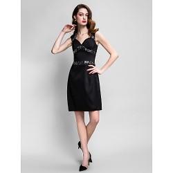 Cocktail Party Dress Black Plus Sizes Petite Sheath Column Queen Anne Knee Length Stretch Satin