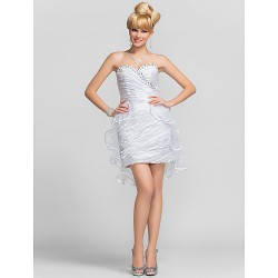 Cocktail Party / Graduation Dress - White Plus Sizes / Petite Sheath/Column Sweetheart / Strapless Short/Mini Charmeuse / Tulle