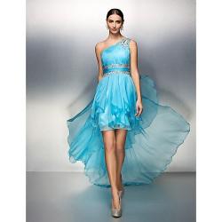 Dress - Pool Plus Sizes / Petite Sheath/Column One Shoulder Asymmetrical Chiffon