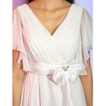 TS Couture Cocktail Party / Holiday / Graduation Dress - Ivory Plus Sizes / Petite A-line / Princess V-neck Knee-length Chiffon Special Occasion Dresses