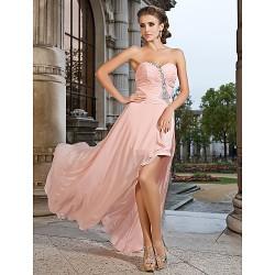 Prom Formal Evening Dress Pearl Pink Plus Sizes Petite Sheath Column Sweetheart Strapless Asymmetrical Short Mini Chiffon