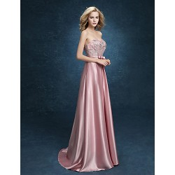 Formal Evening Dress Blushing Pink Plus Sizes A Line Sweetheart Floor Length Stretch Satin