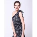 Formal Evening Dress Print A Line One Shoulder Asymmetrical Velvet