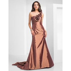 Formal Evening Military Ball Dress Brown Plus Sizes Petite Trumpet Mermaid One Shoulder Court Train Taffeta