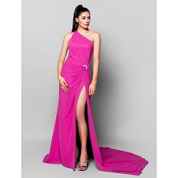 Formal Evening Dress - Fuchsia Plus Sizes / Petite A-line One Shoulder Court Train Chiffon