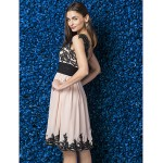 Dress - Pearl Pink Plus Sizes / Petite A-line Straps Knee-length Jersey / Chiffon Special Occasion Dresses