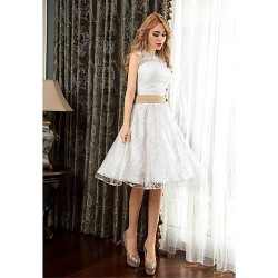 Cocktail Party Dress White A Line Jewel Knee Length Lace