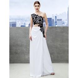 Formal Evening Dress - White Sheath/Column One Shoulder Sweep/Brush Train Jersey