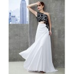 Formal Evening Dress - White Sheath/Column One Shoulder Sweep/Brush Train Jersey Special Occasion Dresses