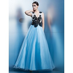 Formal Evening Dress - Sky Blue A-line Jewel Ankle-length Tulle
