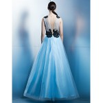 Formal Evening Dress - Sky Blue A-line Jewel Ankle-length Tulle Special Occasion Dresses