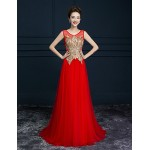 Formal Evening Dress - Ruby / Burgundy A-line Scoop Sweep/Brush Train Tulle Special Occasion Dresses