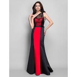 Formal Evening Military Ball Dress Black Plus Sizes Petite Sheath Column One Shoulder Floor Length Satin Lace