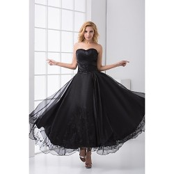 Formal Evening Dress - Black Plus Sizes / Petite A-line Sweetheart Ankle-length Satin / Tulle