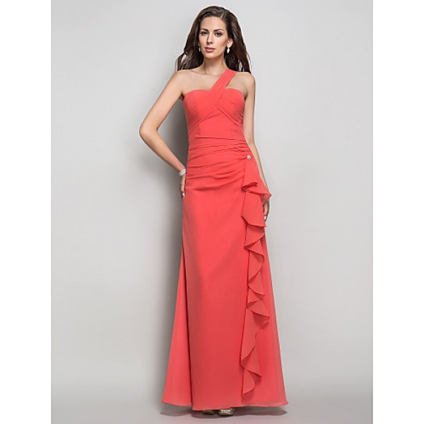 Formal Evening / Prom / Military Ball Dress - Watermelon Plus Sizes / Petite Sheath/Column One Shoulder Floor-length Chiffon Special Occasion Dresses