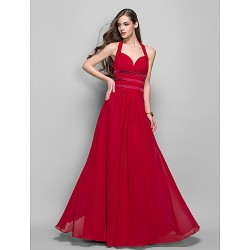 Formal Evening Prom Military Ball Dress Ruby Plus Sizes Petite Sheath Column Halter Floor Length Chiffon