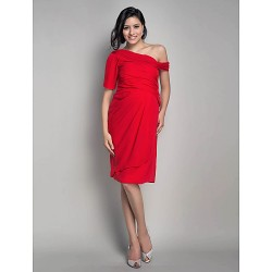 Cocktail Party Dress - Ruby Maternity Sheath/Column One Shoulder Knee-length Chiffon